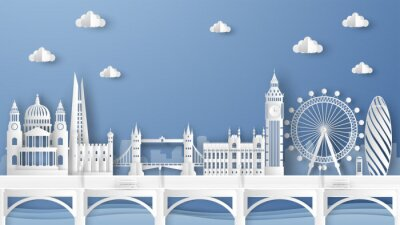 Väggdekor Illustration of city scene with famous architectures in London, England. Elements of London city, England. London city scene of England. paper cut and craft style. vector, illustration.