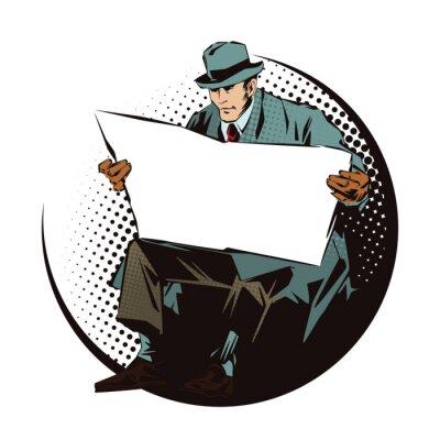 Väggdekor Illustrations. Människor i retrostil popkonst och vintage reklam. Placerad man med tidningen. Tidning för din text.