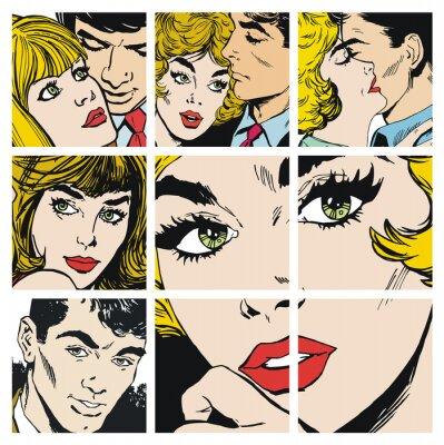 Väggdekor Ilustraciones con parejas de Enamorados