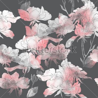 Väggdekor imprints blommor och löv av vildrosa. handmålade sömlösa mönster. digital teckning och akvarellstruktur. bakgrund för textildekoration och design. botanisk tapeter. mixad media. blommig ram