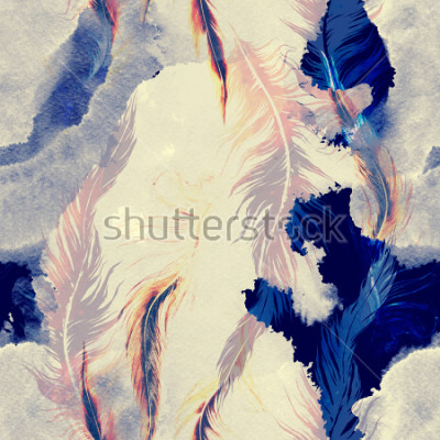 Väggdekor imprints flying bird feathers mix seamless pattern. abstract watercolour and digital hand drawn picture. mixed media artwork for textiles, fabrics, souvenirs, packaging and greeting cards.