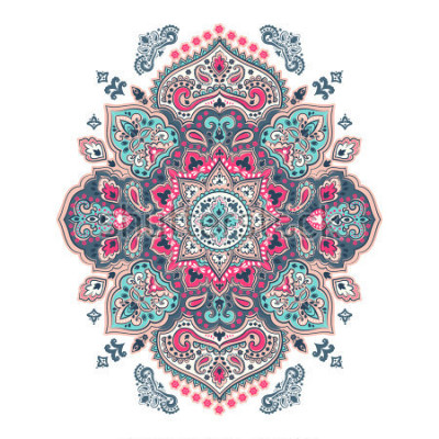 Väggdekor Indian floral paisley medallion pattern. Ethnic Mandala ornament. Vector Henna tattoo style. Can be used for textile, greeting card, coloring book, phone case print.