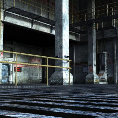 Väggdekor industriell rum av den tekniska avdelningen med järn dörrar, kolumner och metalldelar
