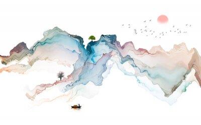 Väggdekor Ink landscape decoration illustration abstract line poster background