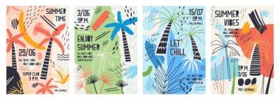 Väggdekor Insamling av inbjudan eller affischmallar dekorerad med tropiska palmer, målarfärger, blottar och kryp för sommaröppen dansfest. Vektor illustration för sommar händelse befordran.