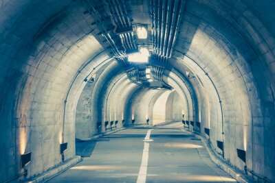 Väggdekor Interiör från en urban tunnel på berget utan trafik ..