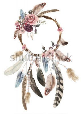 Väggdekor Isolerad akvarell dekoration Bohemian Dreamcatcher, Boho fjädrar dekoration, inhemsk dröm chic design, mystisk etnisk tribal print, amerikansk kultur design, zigenare prydnad, dröm fångare