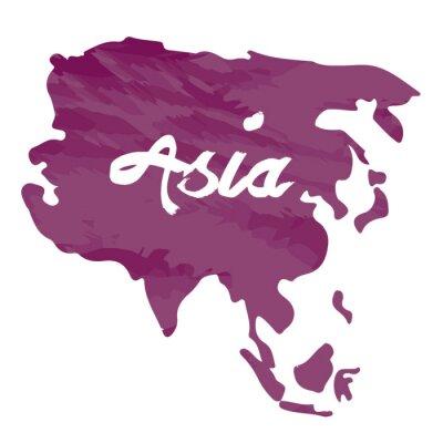 Väggdekor Isolerade karta över Asien på en vit bakgrund, vektor illustration