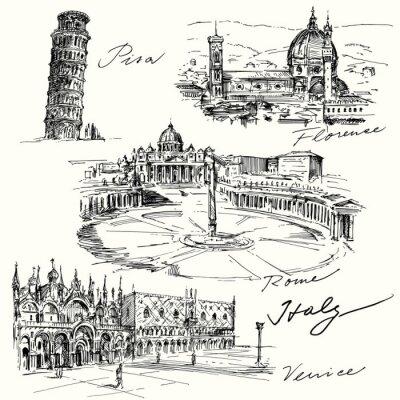 Väggdekor Italien - handritad samling