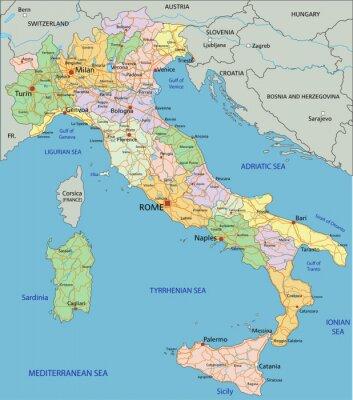Väggdekor Italien - Mycket detaljerade redigerbara politiska kartan med separerade skikt.