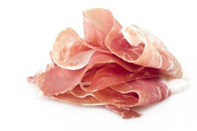 Väggdekor Italienska prosciutto crudo, skivad skinka ben på vit