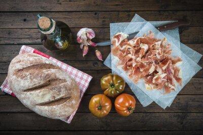 Väggdekor Jamón, panorera, tomate, aceite de oliva y ajo para hacer el típico panorera tumaca español