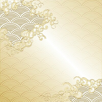Väggdekor Japanese Cloud background with wave pattern vector. Gold Japanese line template.