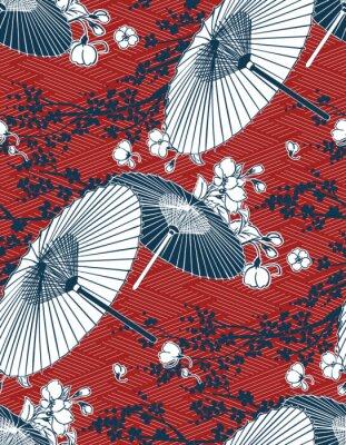 Väggdekor japanese traditional vector illustration sakura umbrella pattern red