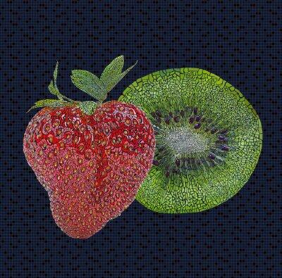 Väggdekor Jordgubb och kiwi illustration