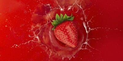 Väggdekor jordgubb stänk i röd saft vätska