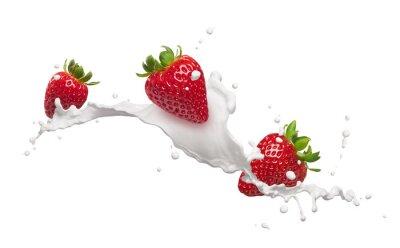 Väggdekor jordgubbar med mjölk stänk