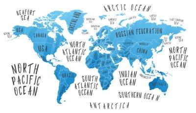 Väggdekor Jordkarta med ländernas namn