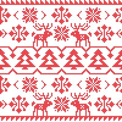 Väggdekor Jul och vinter stickad seamless