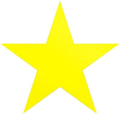 Väggdekor Julstjärna gul - enkel 5-punktsstjärna - isolerad på vitt