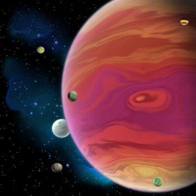Väggdekor Jupiter Planet - Jupiter är den största gasjätten planet i vårt solsystem med 67 månar och har en stor röd fläck virvel under ekvatorn.