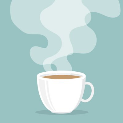Väggdekor Kaffekopp med rök flyta upp