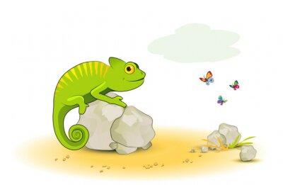 Väggdekor Kameleont med fjärilar