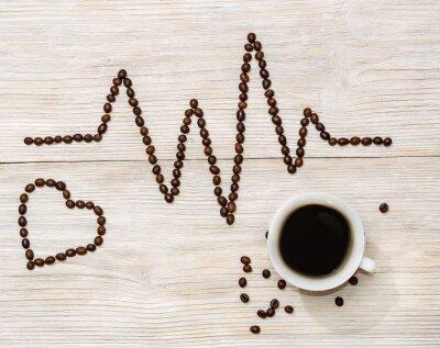 Väggdekor kardiogram och hjärta anges kaffebönor med en kopp kaffe