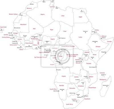 Karta Afrika Med Lander Och Huvudstader Dekor Pa Laptop