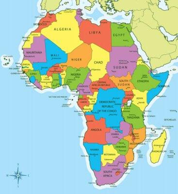 Väggdekor karta Afrika med länder och städer