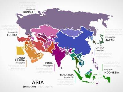 Väggdekor Karta över Asien