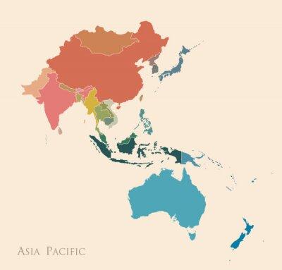 Väggdekor Karta över Asien Stilla havet