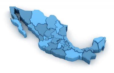 Väggdekor Karta över Mexiko. Bild med urklippsbana.