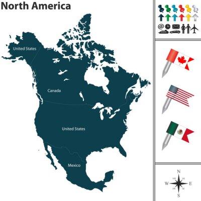 Väggdekor Karta över Nordamerika