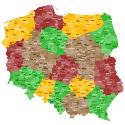 Väggdekor Karta över Polen i detalj