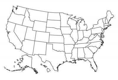 Väggdekor Karta över USA