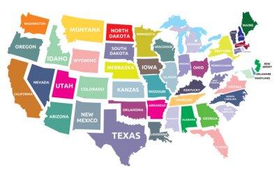 Väggdekor karta USA med stater