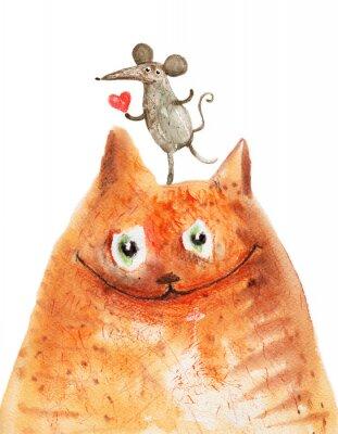 Väggdekor katt med mause