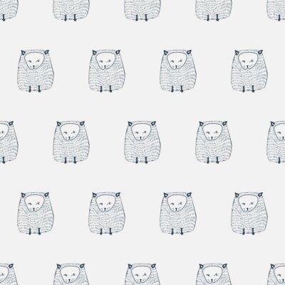 Väggdekor Katter sömlösa mönster. Djur bakgrund. vektor