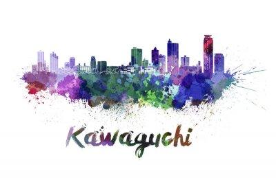 Väggdekor Kawaguchi skyline i vattenfärg