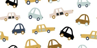 Väggdekor Kids handdrawn seamless pattern with colorful cars