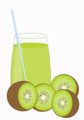 Väggdekor Kiiwi fruktjuice och Kiwi halvor