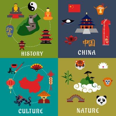 Väggdekor Kina historia, kultur och natur ikoner
