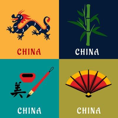 Väggdekor Kina kultur och tradition platta ikoner