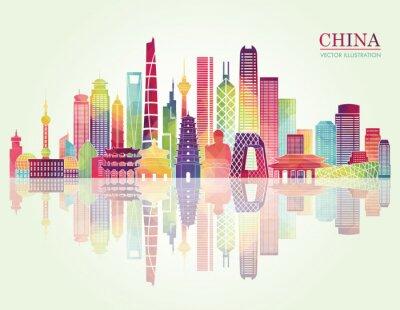 Väggdekor Kina skyline detaljerad silhuett. vektor