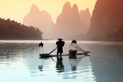 Väggdekor Kinesisk man fiske med skarvar fåglar