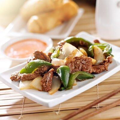Väggdekor Kinesisk mat - Peppar nötkött på restaurang