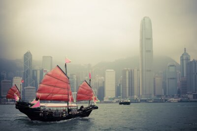 Väggdekor kinesisk stil segelbåt i Hong Kong