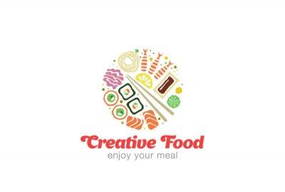 Väggdekor Kinesiska Japanska Sushi Sashimi Seafood Logo design.