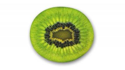 Väggdekor Kiwi skiva, tropisk frukt halv isolerade på vit bakgrund